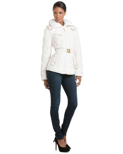 Some of you have to get in on this: Cole Haan Ivory Belted Taffeta Down Jacket