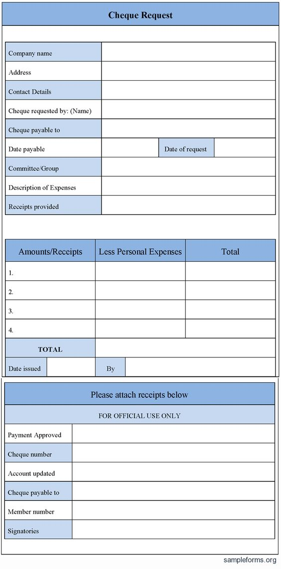 Cheque Request Form Cheque Request Form  Accounting Forms