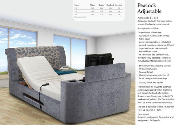 Peacock Adjustable TV Bed Frame