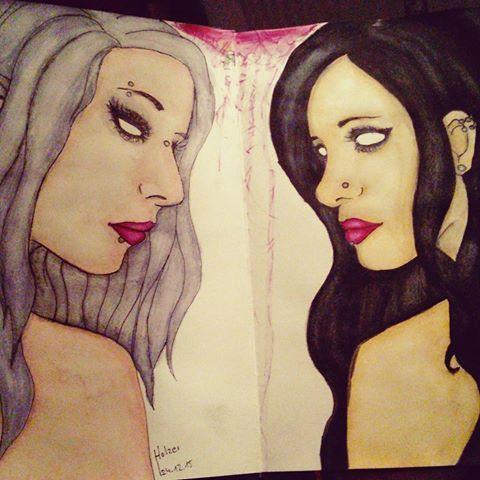 drawing again 💕 #drawing #zeichnung #art #blackbook #aquarell #goth #piercing #childrenofthevoid