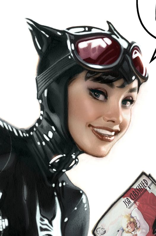 Adam Hughes' Catwoman looks like Audrey Hepburn, which is cool...