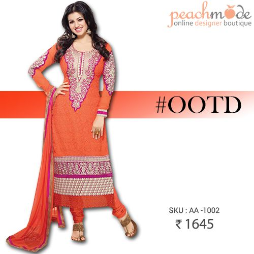 OUTIFT OF THE DAY #OOTD  Glow in this Orange dress at just 1645/-  #ayeshatakia #fashion #indianstyle #peachmode #onlinestore #onlinefashion #buynow #pinterest #pinit #womensclothing #womensfashion