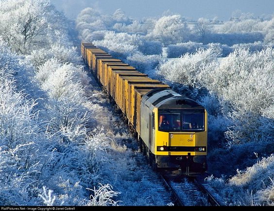 RailPictures.Net Photo: 60041 British Rail Brush class 60 at near Aylesbury, United Kingdom by Janet Cottrell. Christmas Eve 1994 dawned bright and clear with a wonderful hoar frost.
