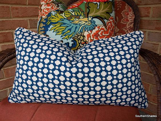 One or Both Sides - ONE  Schumacher Betwixt Indigo and Ivory Pillow Covers with self cording