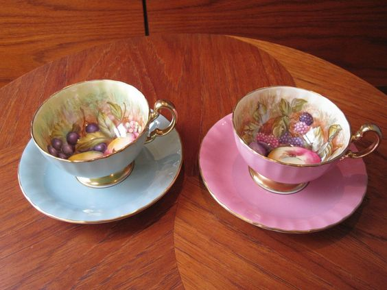 Two (2) Aynsley Handpainted Orchard Fruit Tea Cups and Saucers - Signed D Jones