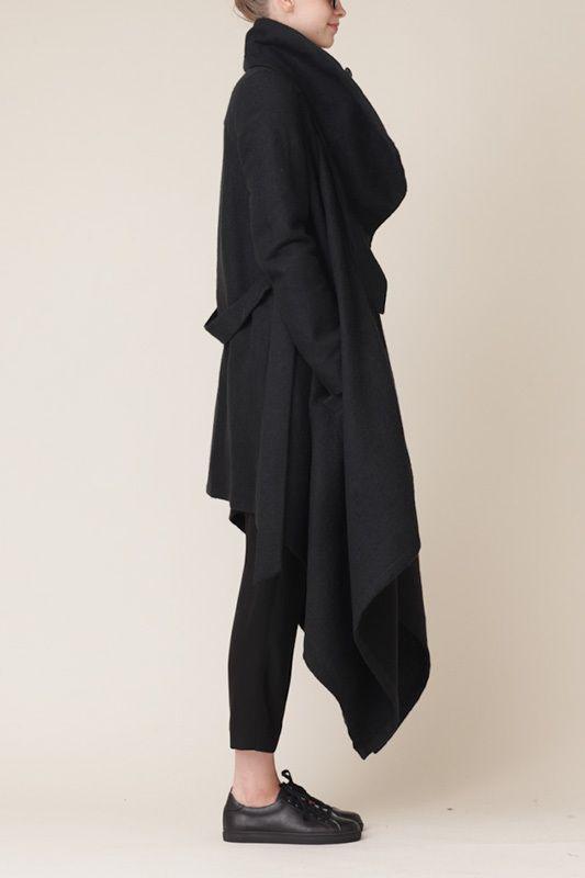 ANN DEMEULEMEESTER black draped sweater, pants, loafers  #minimalist #fashion