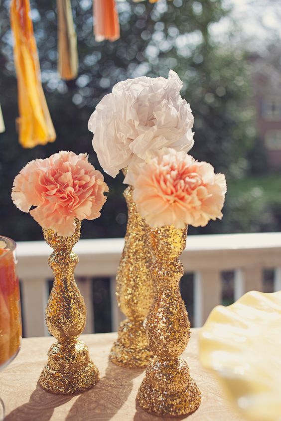glittered gold, candle sticks http://www.leemaemarie.com/cheery-peach-gold-dessert-table#/id/i7483750: