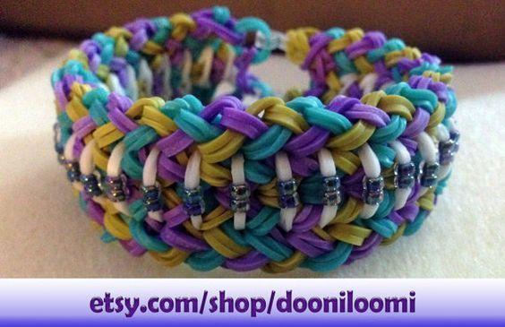 Pretty Rainbow Loom Thick Weave Braid Striped Beaded Purple Turquoise Olive Green  Adult Bracelet