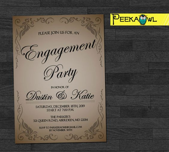 Personalized Engagement Party Invitations Engagement by PeekaOwl – Personalized Engagement Party Invitations