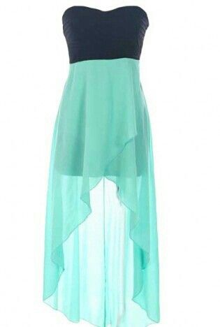 Cute blue and mint colored dress. Short in the front and long in ...