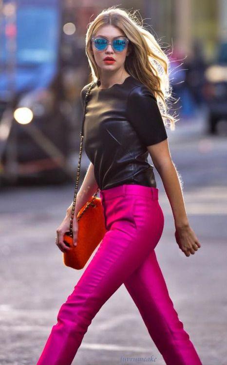 Gigi Hadid. Bold colors. Sleek textures.
