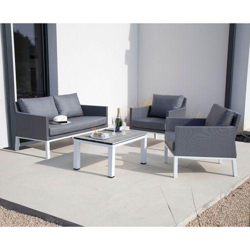 Salon de jardin aluminium blanc et gris 4 places OSLO http://www ...