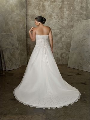 Strapless Beaded Organza Satin Plus Size Wedding Dress WDPS024