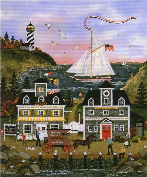 American Heritage #3: Painting, Waterfront Day Dreams by Jane Wooster Scott.