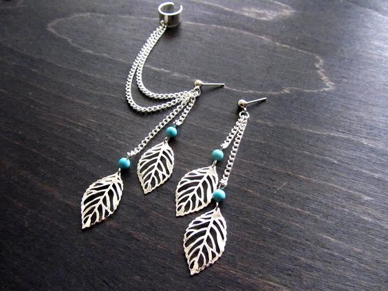 Leaf filigree double ear cuff earring, ear cuff set. $22.00, via Etsy.