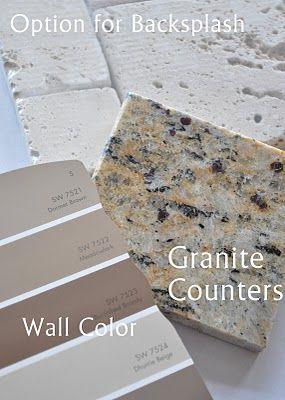 Venitian Gold Granite/ Travertene backsplash.  Might be our kitchen!