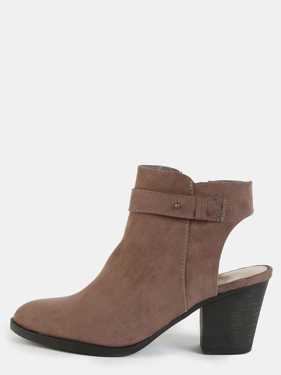 """Get that cool factor with the Front Strap Block Heel Ankle Boots! Features an almond toe, faux suede upper, front strap, and a side zipper. Finished with a 3"""" block heel. Complete the look with a fringe leather jacket for a retro feel. #booties #boho #festival #MakeMeChic #MMCstyle #ootd #MMC #style #fashion #newarrivals #summer16"""