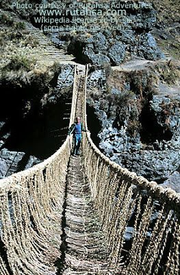 Inca rope bridge.