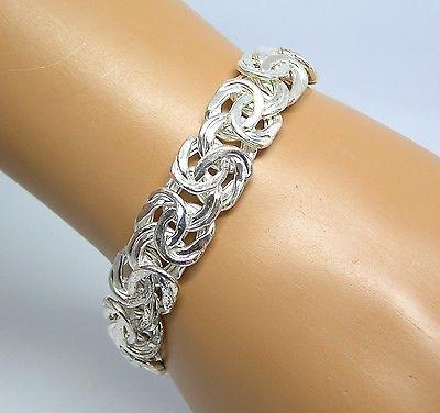 """QVC Bold Byzantine Link Bracelet Sterling Silver 6.75"""""""
