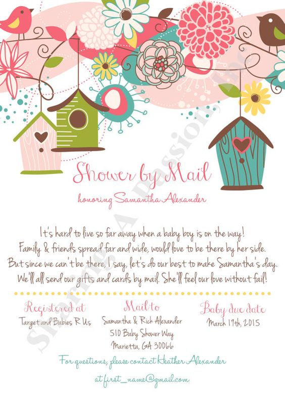 Baby Shower Gifts Mail ~ Shower by mail invitation long distance