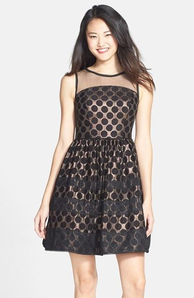 Adrianna Papell Illusion Yoke Dot Jacquard Fit & Flare Dress available at #Nordstrom
