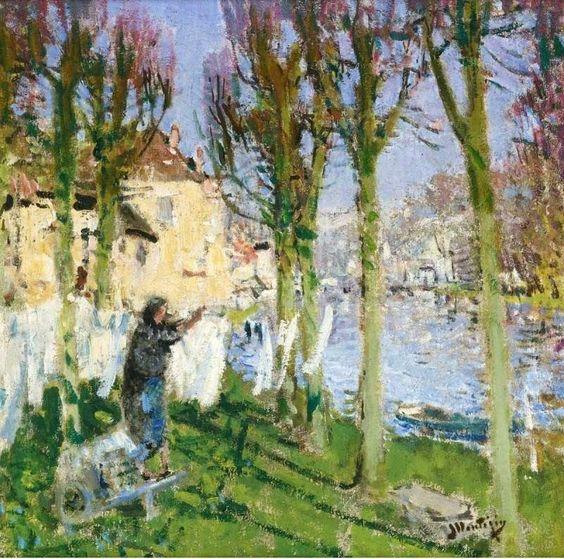 Pierre Eugene Montezin 1874-1846, Laundress hanging washing
