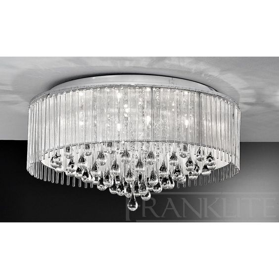 Franklite Spirit 8 Light Chrome and Crystal Halogen Flush Ceiling Fitting