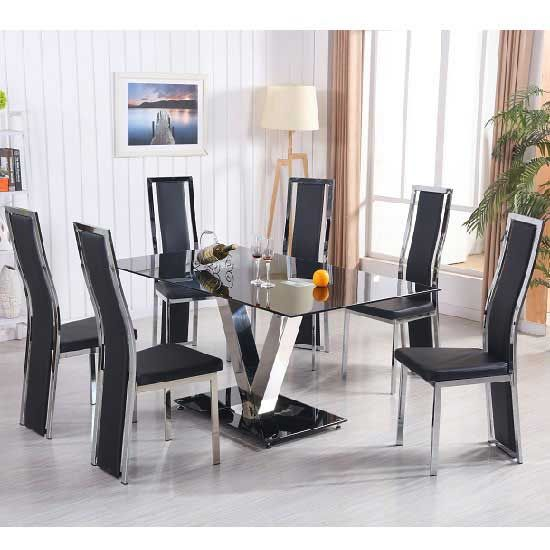 Derby V Glass Dining Set In Black With 6 Collete Chairs Black