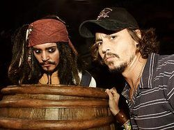 Johnny Depp and one of the Jack Sparrow's on the pirates ride.