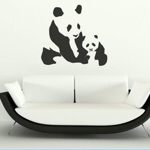 pas cher vendre comme des petits pains mignon panda animaux vinyle decal mur art mural amovible. Black Bedroom Furniture Sets. Home Design Ideas