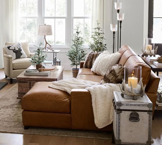Turner Square Arm Leather Sofa With Chaise Sectional Leather