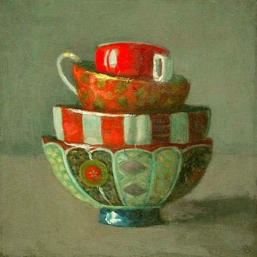 Olga Antonova   Stacked Bowls with Red   21st Century: