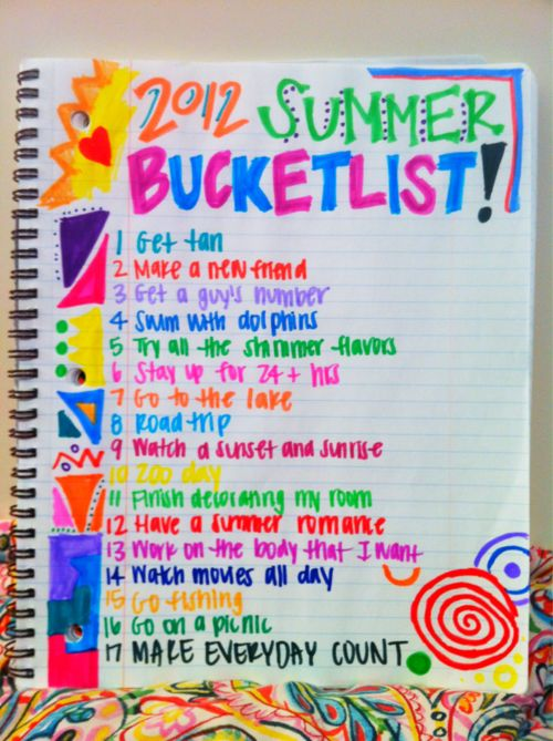 So I'm gonna repin this not because of the bucket list but because I love the handwriting and it's so colorful!