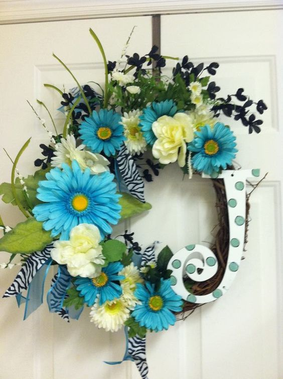 Bright Blue Gerber Daisy with White and black floral spring grapevine wreath with Monogram Initial. $55.00, via Etsy.