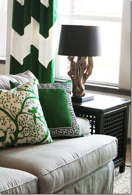 Kelly Green accents and wicked cool lamp
