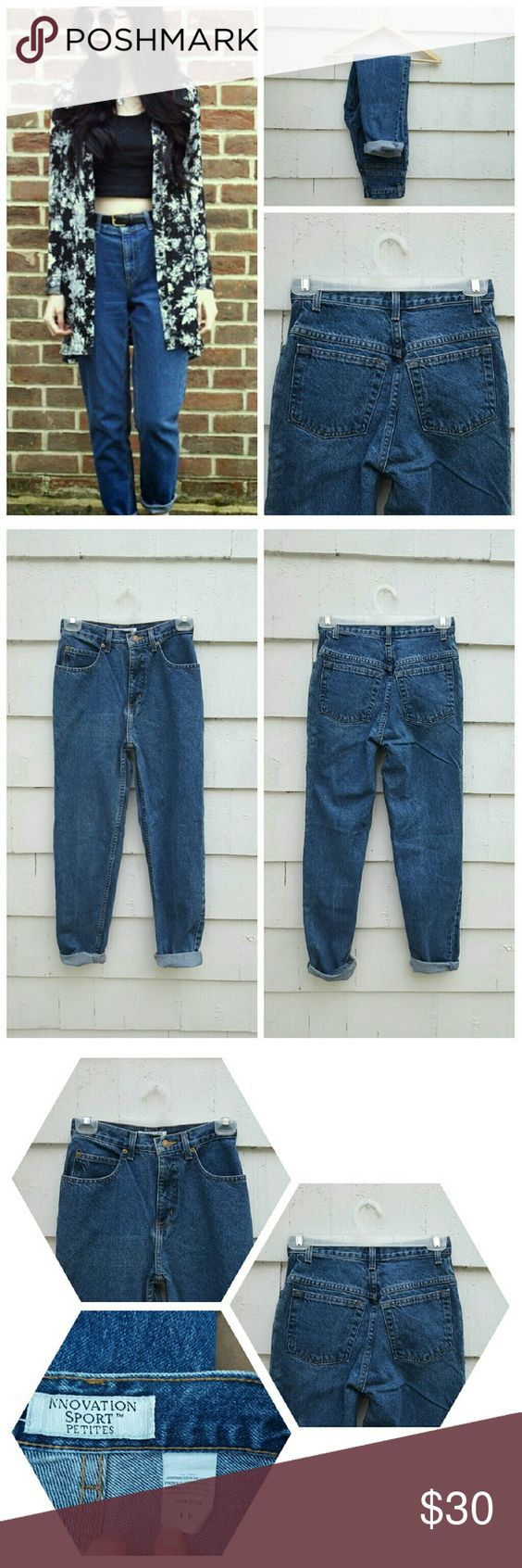 "Vintage Petite Dark Wash High Waisted Mom Jeans Classic pair of petites high waisted denim jeans, medium/dark blue wash. 8/10 condition, great vintage condition ! ** DO NOT PURCHASE THESE JEANS UNTIL YOU COMPARE EVERY SINGLE MEASUREMENT TO YOUR OWN HIGH WAISTED JEANS - NO RETURNS ** Size 4 P. Based off of waist measurement, this pair could possibly fit size waist size 23/24 best. But ABSOLUTELY make sure to refer to measurements Waist 12"" Rise 11""  Thigh 9.5"" Hip 17"" Inseam 27"" Leg Opening…"