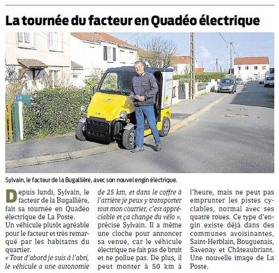 [Actualité] La tournée du facteur en Quadéo électrique : une nouveauté dans le quartier de la Bugallière à Orvault (Loire-Atlantique) © Presse Océan, 21 février 2014, DR.
