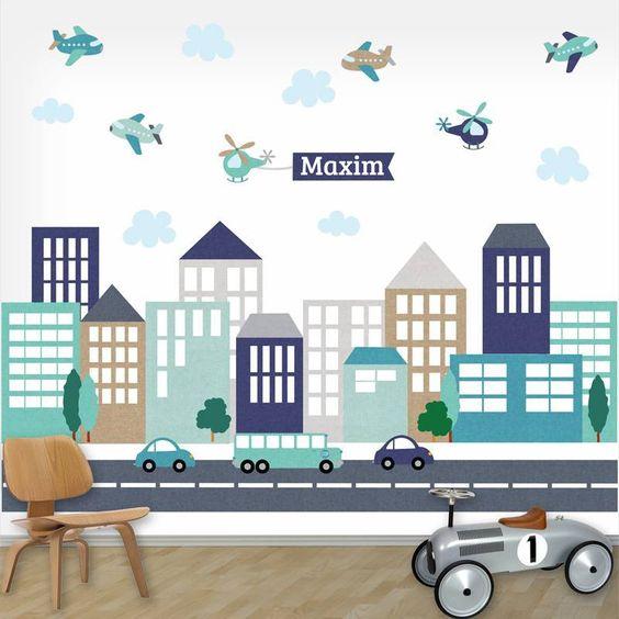 Muursticker XL City line boys met naam van het merk DecoDeco hier online kopen. Mooie muursticker met straat en auto's in blauwe tinten.