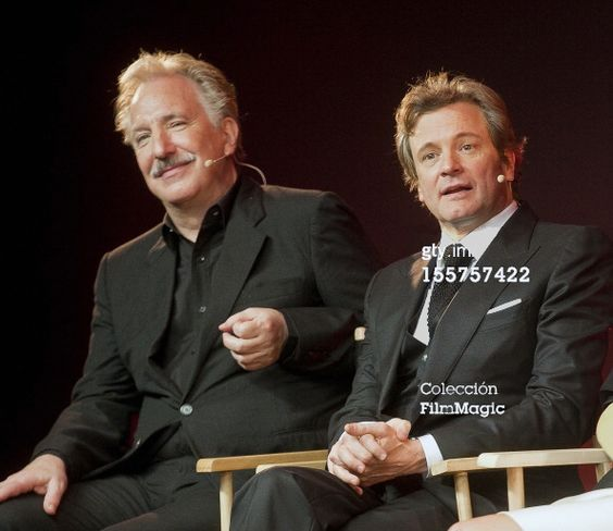 "Alan Rickman and Colin Firth.  ""Meet The Film Makers: Gambit"" Photo by Niki Nikolova on Getty Images:"