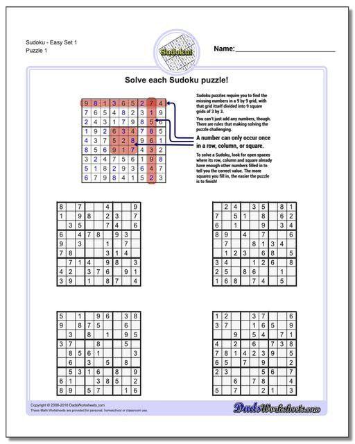 6th Grade Math Puzzle Worksheets Sudoku Sudoku Printable Free Printable Math Worksheets Printable Math Worksheets