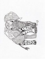 Zentangles Art - Elephant by Paula Dickerhoff