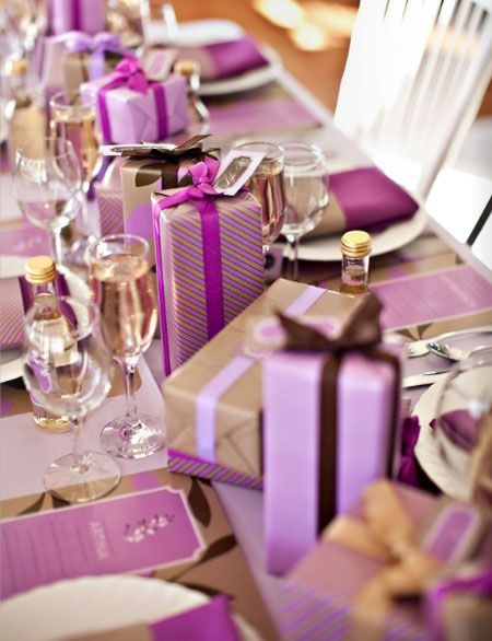 Can you imagine how lovely it would be to arrive at a dinner party with a table covered in gifts like this!