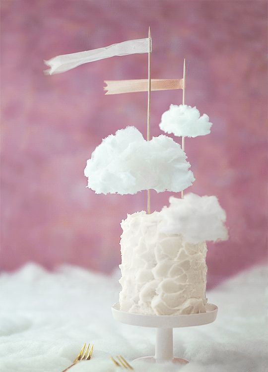Fluffy White Baby Shower Cloud Cake | What a sweet and whimsical cake for a girl's baby shower theme. I love simple yet extremely unique and creative cake ideas like this. They do not have to be over the top or extravagant to make an impact.