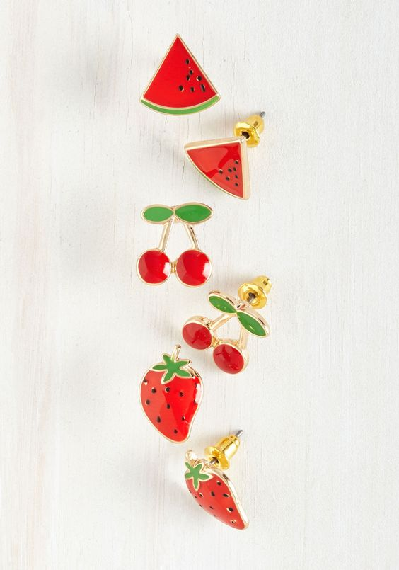 such cute little fruit stud earrings