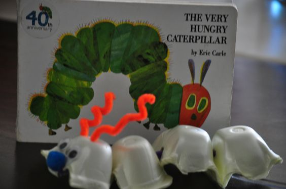 Very Hungry Caterpillar.  Made from an egg carton.  Great activity to go along with the book.