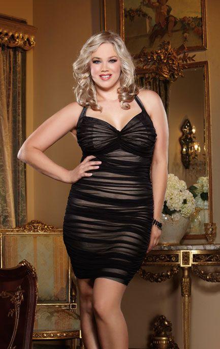 Women's Plus Size Lingerie - Retro Ruched Halter Dress #8712X lingerie dress -  1x-4x