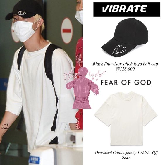 180806 Bts At Airport Jin Is Wearing Vibrate Cap 128 000 Fear Of God T Shirt 329 Puma Track Pants 50 And Rs 0 Play 111 95 Msgm Kpop Outfits Shirts Fashion
