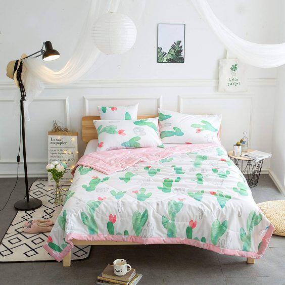 Kids Cute Cactus 4 Pieces Comforter Set Twin Bed In A Bag For Kids Bedroom 100 Cotton Comforter Flat Sheet Fitted Sheet Pillowcase Cactus Kids Bedroom Sets Small Bedroom Designs Kids Bedroom