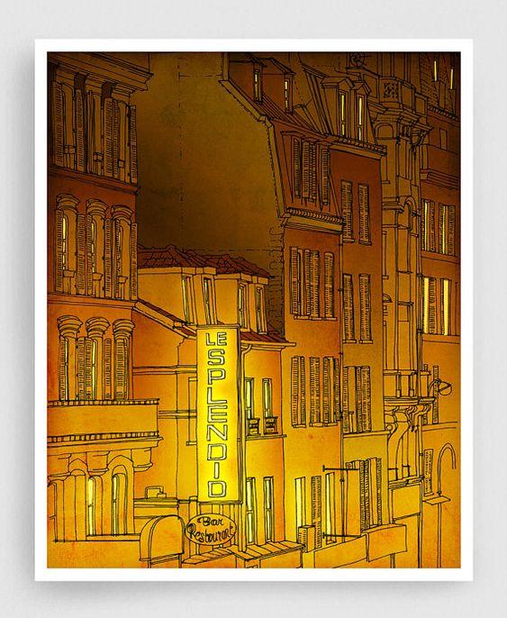 Golden night  Paris illustration Art illustration Mixed by tubidu