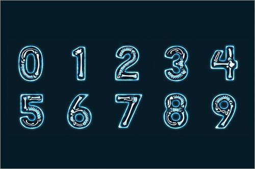 すごい骨ホネしてるぞ レントゲン写真で撮影したかのようなかっこいいフォント素材 X Ray Type 数字デザイン かっこいい数字デザイン フォント